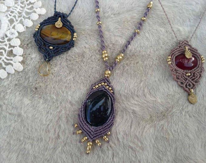 Moss Agate Mod. Oihane, macrame pendant,  with brass beads, jewelry BOHEMIAN, gipsy jewelry, tribal Macrame Necklace, yoga talisman