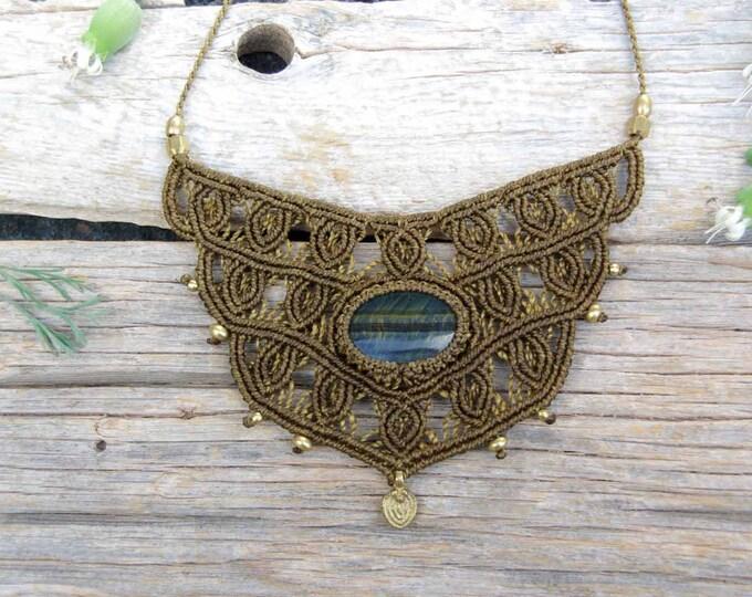 Macrame Necklace, black tiger eye and brass beads, goddess necklace, adjustable, fairy necklace, ethnic jewelry, yoga necklace, talisman
