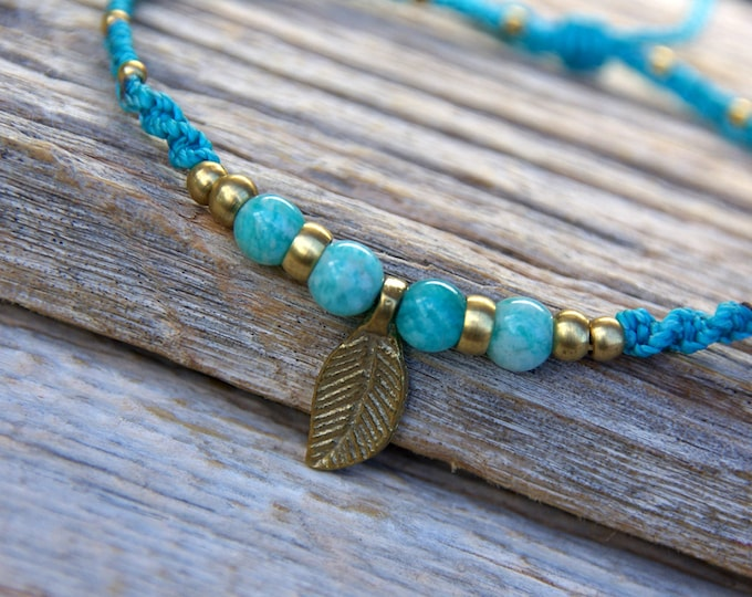 Bracelet or anklet macrame Mod. Maitane, with reversible feather, with 4 amazonites, in brass, nickel free, free shipping