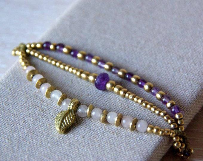 Mod Bea bracelet, with rose quartz and amethyst, brass bracelet, nickel free, water resistant, tribal leaf bracelet, talisman yoga, amulet