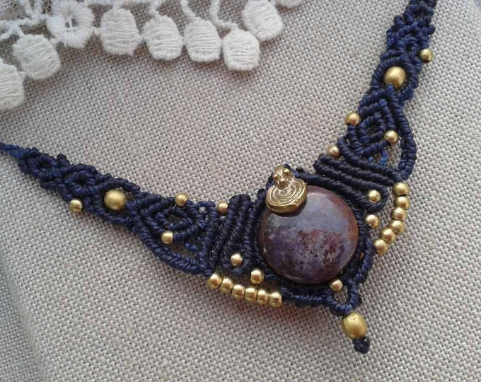 RUBY Star Macrame Necklace, bohemian necklace, gipsy jewelry, amulet, talisman stone, yoga necklace, natural stone, boho necklace, gipsy