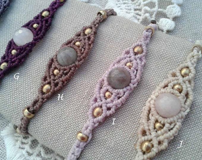 Rose Quartz or Tiger Eye macrame bracelet, Mod. Carol, brown, gipsy jewelry, friendship bracelet, waterproof brass, amulet, free shipping