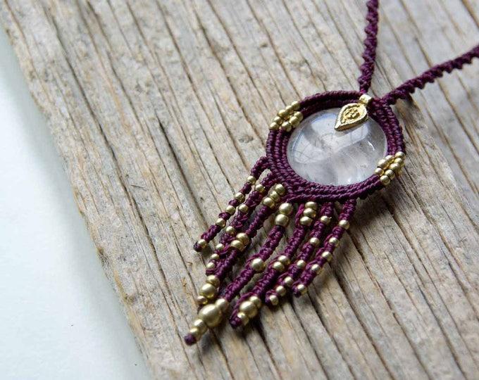 Macrame pendant, crystal quartz and brass beads, goddess necklace, adjustable, fairy necklace, ethnic jewelry, yoga necklace, stone talisman