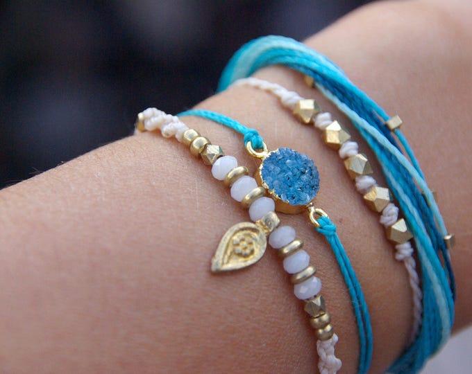 Kit of 4 bracelets, macrame bracelets, adjustable, with brass, nickel free, agate druse, set of 4 bracelets, for lovers of the sea, yoga