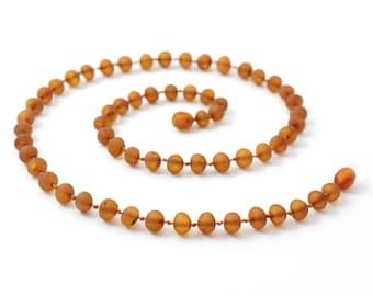 Amber Necklace for Adults, Raw Cognac, Baroque Beads, Adult Size, Bernsteinkette für Erwachsene