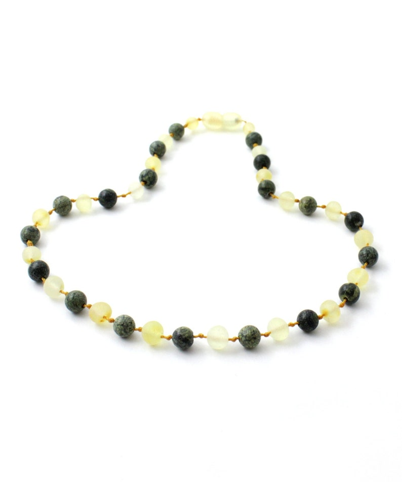 Baltic Amber Teething Necklace Raw Lemon Amber made with Green Lace Stone Beads