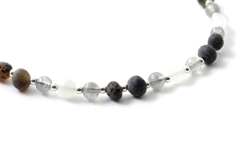 Made With Labradorite Minimalist Amber Anklet for Women or Men Adult Sizes Moonstone and Sterling Silver 925 Raw Green Amber Beads