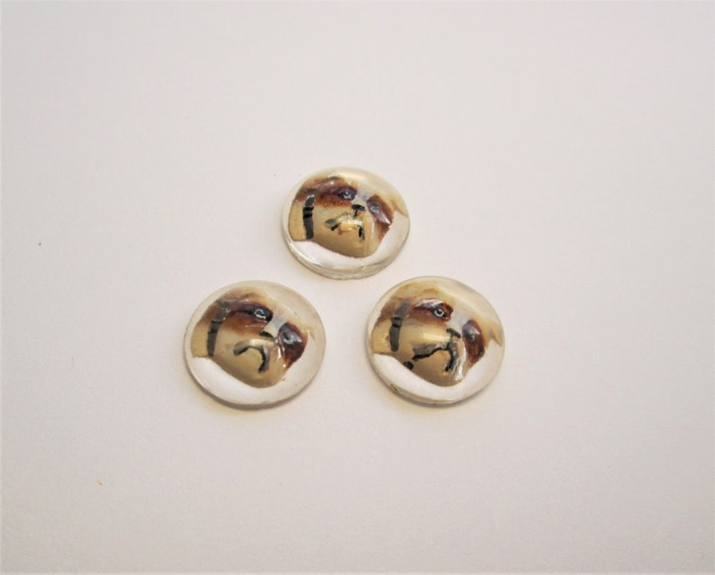 Interesting Unset Hand-painted Intaglio Cabochon JewelryButton Finding 1920/'s Buying One Each Likely Czech c BULLDOG Not a Button