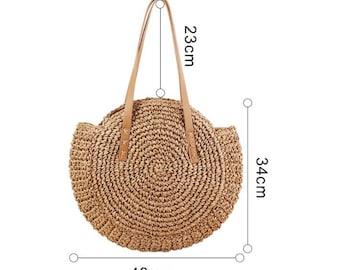 c3177c5f6ec5f2 Simple Straw Round Women Schultertasche Handmade Woven Boho Frauen-Handtasche  Sommer Beach Lady wicker Rattan-Tasche Große Kapazität