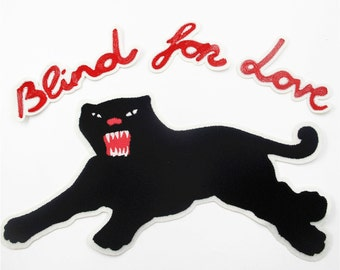 7b543540473 1 Set of Panther Embroidered Applique Patch