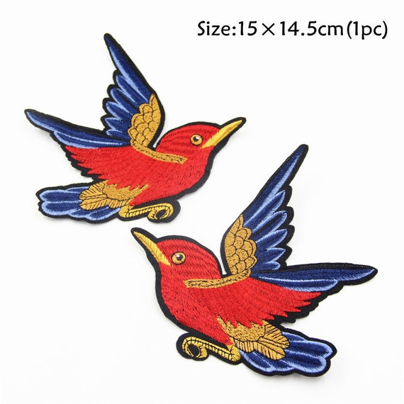 1PC~RED TOUCAN BIRD~EMBROIDERED IRON ON APPLIQUE PATCH