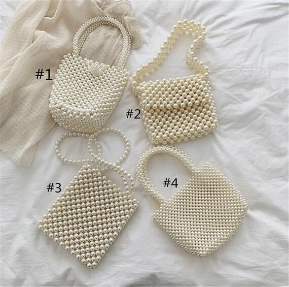 Handmade Pearl Bag,Beaded White Pearl Tote, Handmade White Bead Purse, Bridal Wedding Purse, Pearl Shoulder Bags, Baroque Bag by Etsy