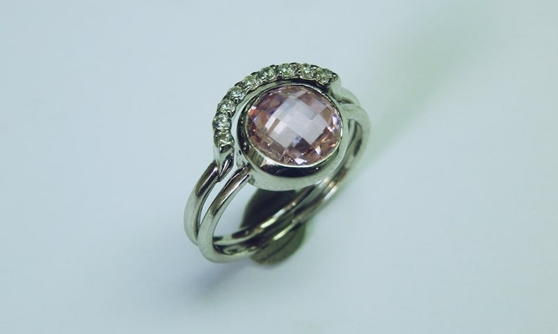 Everyday ring 925K sterling Silver ring Set Round CZ Ring With Half Round Wedding Engagement Set with Half Round Band