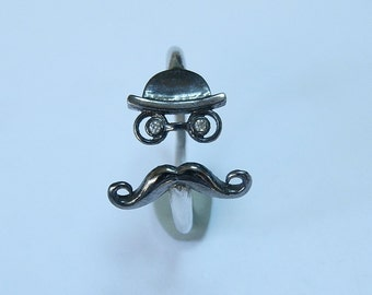 Moustache Ring With 2 Swarovski Black CZ's - Hat Ring - Mr Ring - Dainty Ring - Two Colour Ring - Sterling Silver Ring - valentines gifts