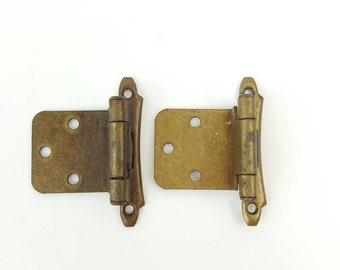 """Vintage NOS CHROME Cabinet Door HINGES 3//8/"""" Inset Art Deco Scrolled Design Ajax"""