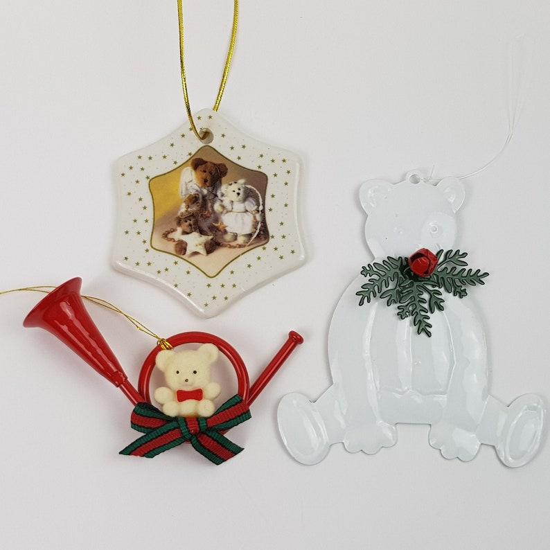 Teddy Bear Christmas Tree Ornaments Department 56 Flocked Fuzzy Creative Holiday Peace on Earth Decor Perch Branch Houseplant Terrarium
