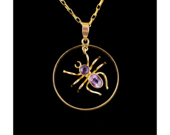 Antique Inspired Amethyst Spider Pendant 9ct Gold Vintage Circular Pendant Necklace Ladies Vintage Jewellery Old English Insect Jewelry
