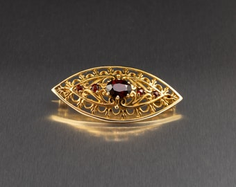 9ct Gold Marquis Shape Brooch Red Garnet Stone Brooch Vintage Gold Brooches Pre Loved Jewellery Antique Style English Hallmarks