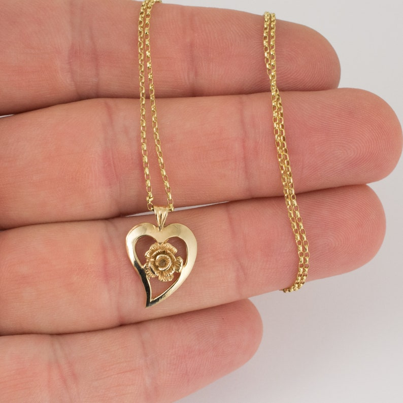 Rose Heart Pendant Necklace 9 Carat Yellow Gold