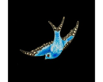 Vintage Bird Brooch Blue Enamel Sterling Silver Marcasite Red Glass Eye Jewelry English Antique Jewelry Swallow Brooches Animal Jewellery