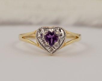 Heart Shape Amethyst & Diamond 9ct Yellow White Gold Vintage Jewellery Full Hallmarks Pre Loved Rings Ladies Dress Rings UK/AU Size M/N