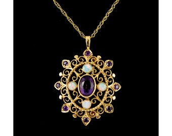 Opal & Amethyst Lavaliere Pendant 9ct Gold Antique Inspired Jewellery Vintage Amethyst Pendants Antique Style Opal Necklaces Vintage Curio