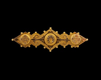 Antique VICTORIAN HORSESHOE Bar Brooch 15ct Yellow Gold Early 20th Century Jewelry Lucky Horseshoe Flower Brooch Old Collectable Jewellery