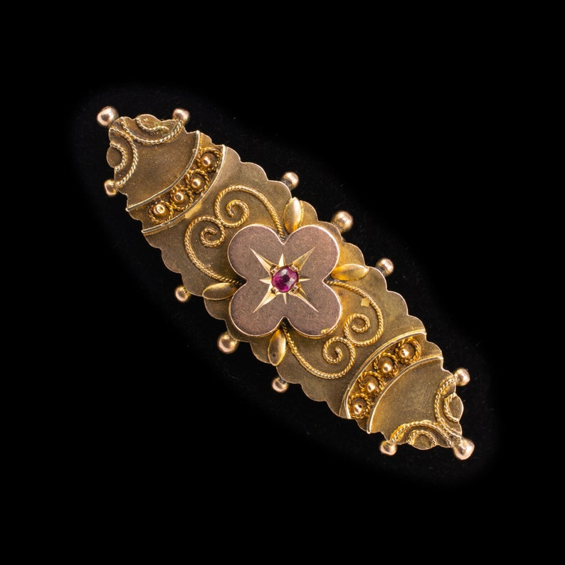 Antique Ruby Brooch 9ct Gold Chester Hallmarks Dated 1902 - Victorian  Flower brooch Vintage Jewellery Antique English Jewelry