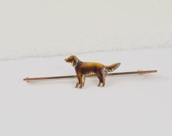 9ct Gold & Enamel Dog Brooch, Vintage Enamel Jewellery, Iridescent Enamel, Gold Bar Brooch, Animal Brooches, Dog Lovers, Unique Jewelry