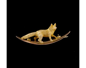 Antique 9ct Gold Fox & Crest Brooch Vintage Animal Brooches Rare Antique Jewelry English Antique Jewellery Lapel Pins Edwardian Style