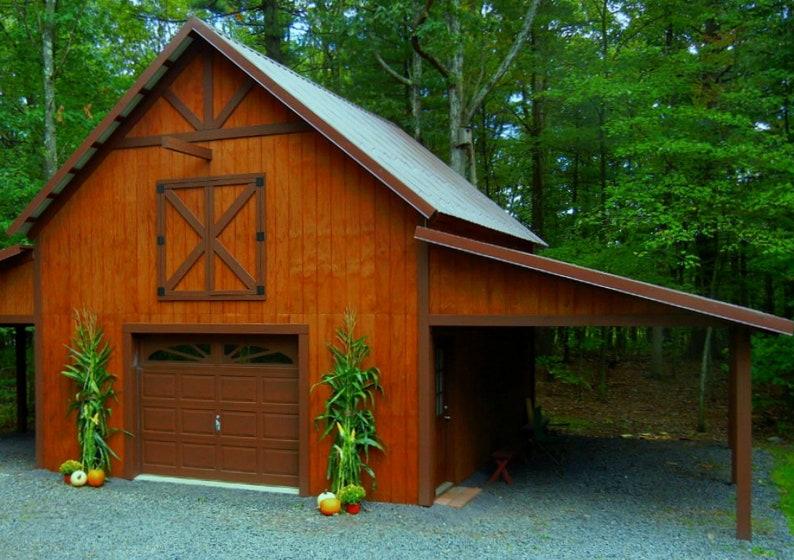19 Backyard Barn Plans Complete Pole-Barn Construction | Etsy