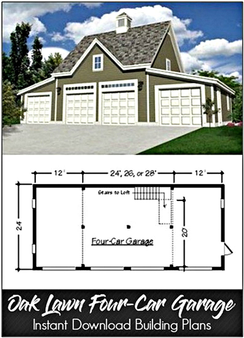 Oak Lawn Two Three and Four Car Garage and Car Barn Plans with Lofts and Expansion Sheds and Shops