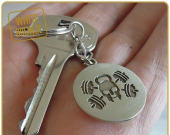 crossfit coach gift keychain for crossfit lover Burpees WOD cross fit athlete barbell Kettlebell key сhain crossfitter
