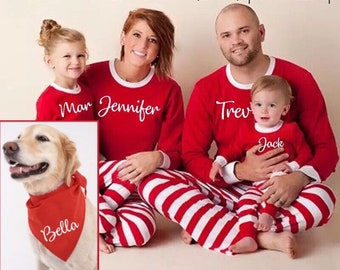 personalized christmas family pajamas set kids jammies pjs children infant baby dog pyjamas striped xmas photos red white holiday