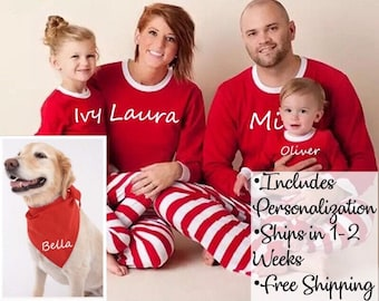 Family Christmas Pajamas With Dog.Family Pajamas Etsy