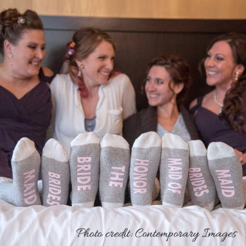 Bridesmaid Socks Wedding Favors Bridal Party Socks Custom image 0