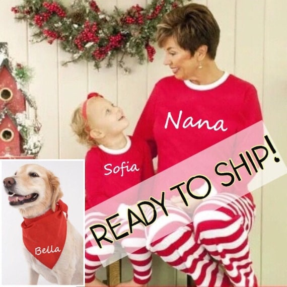 Family Christmas Pajamas With Dog.Matching Family Christmas Pajamas Set Personalized Kids Pjs Children Infant Baby Dog Bandana Pyjamas Striped Xmas Photos Red White Adult