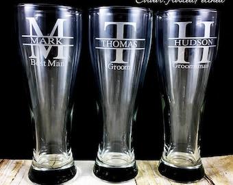 Groomsman Beer Mug, Best Man Tall Beer Glass, Pilsner Personalized Bridesmaid Gift, Groomsmen Gift, Custom Wedding Stein Gift Monogram Cup