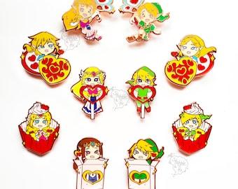 LoZ | Classic 90's Video Game Inspired Hard Enamel Pins | Hero of Time and Princess | Handbag / Ita bag / Backpack Accessory