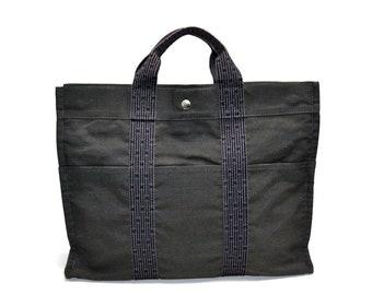 FREE Ship Hermès Hermes Tote Grab Bag Herline Shopper Handbag Dark Grey  Gray Canvas  H  Authentic Good Cond Vintage 2abf1704b1e20
