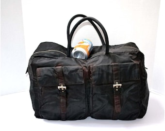 FREE Ship Prada Vintage Authentic Travel Bag Luggage Keepall Large Duffle  Duffel Tessuto Nylon Black 57e63189dfe93