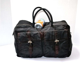 FREE Ship Prada Vintage Authentic Travel Bag Luggage Keepall Large Duffle  Duffel Tessuto Nylon Black 1d86951f12449
