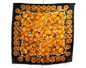Navire gratuit Chanel foulard en soie 100 % bijoux en or emblématique  créateur noir or main roulé les ourlets Foulard Vintage avec l étiquette  d entretien 05f08083f59