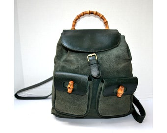 cf34d83acd33 Free Ship Gucci Vintage Bamboo Classic Backpack Rucksack Leather Green  Italian Classic