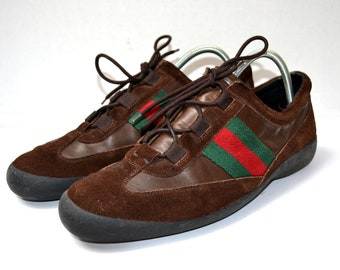 abf2a5310b Free Ship Gucci Vintage Trainers Sneakers Sports Shoes Size UK 9.5 / US  10.5 / EU 43.5 / Jpn 28 Brown Suede Leather Green Red Trim