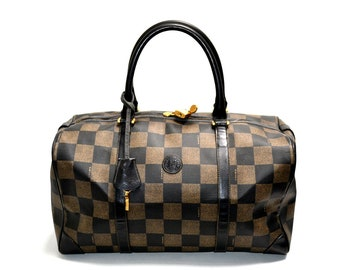 502c331c1c2 FREE Ship FENDI Vintage Authentic Travel Bag Gym Luggage Keepall Large  Duffle Duffel Coated Canvas Good Condition Brown Black