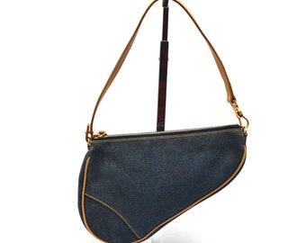 8e803e363ca FREE Ship Christian Dior Saddle Bag Vintage Authentic Mini Tote Pochette Handbag  Purse Clutch Canvas Denim Good Vintage Condition