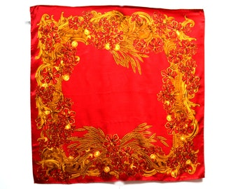 bc9d0c92284 Free Shipping Chanel Silk Scarf Foulard Red Designer Vintage Hand Rolled  Hems Care Tag Intact Good Used Condition Authentic