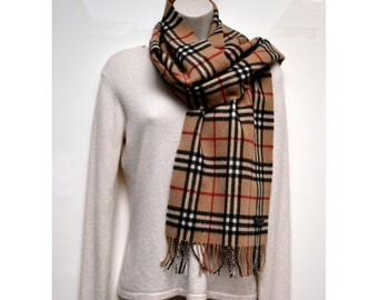 Free Ship Burberrys 100% Pure Lambswool Fringed Scarf Plaid Check Designer  Vintage Tan Brown Unisex 411e475e80d