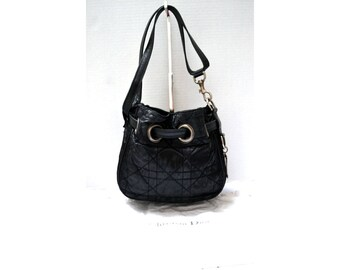 4248cfb16016 FREE Ship Christian Dior Vintage Authentic Small Bucket Shoulder Bag Tote  Black Nylon Cannage Quilted Authentic + Dust Bag